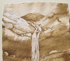 Instant Stream, walnut ink painting on handmade paper, desert landscape, brown