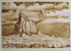 Another Set of Monuments, walnut ink painting on paper, desert landscape, brown
