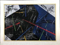 Approaching the Earth, woodblock print, limited edition 20, blue, black, silver