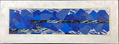 Mountains and Rivers, Japanese woodcut print, 10/20, blue, silver, black, white