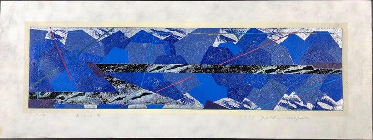 Yuichi Hasegawa Print - Mountains and Rivers, Japanese woodcut print, 10/20, blue, silver, black, white