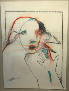 Bird Man by Rick Bartow, pastel on paper, abstract, white, red, pink, blue,black
