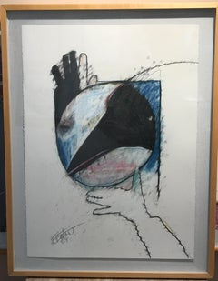 Crow Steals the Moon by Rick Bartow,pastel on paper, black, white, blue, pink