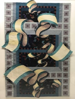 Untitled, textile, tapestry, woven abstract green yellow brown black grey red