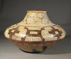 Shipibo Tribal Ceramic Vessel, geometric, brown, cream, tan, black, Amazon, Peru