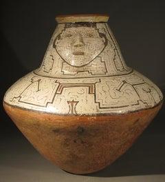 Shibipo Tribal Pot, Single face, geometric, Peru, Amazon, red, black, cream, tan