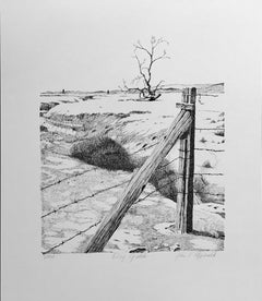 Dry Gulch by John T Fitzgerald,black, white desert print barbed wire tree desert