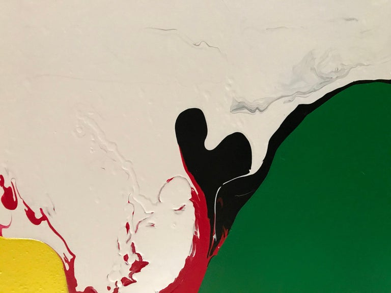 Refraction by Glenn Green, abstract painting, yellow, green, red, black, blue  For Sale 2