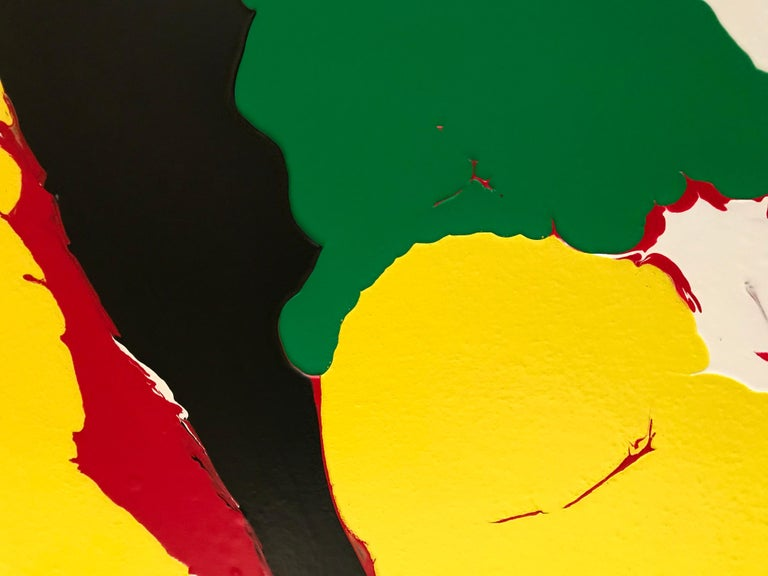 Refraction by Glenn Green, abstract painting, yellow, green, red, black, blue  For Sale 4