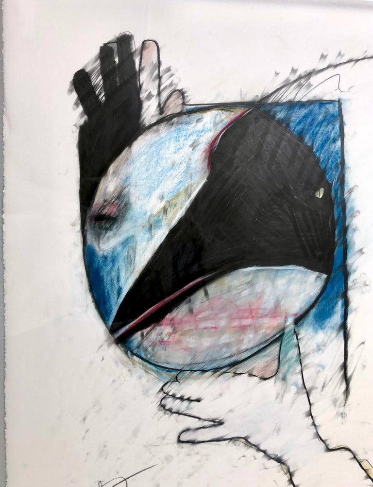 Crow Steals the Moon by Rick Bartow, pastel on paper framed, blue, red, black  For Sale 2