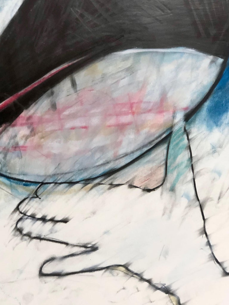 Crow Steals the Moon by Rick Bartow, pastel on paper framed, blue, red, black  For Sale 4