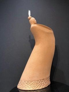 Waiata, Song, ceramic sculpture, Maori art, contemporary cloaked male figure