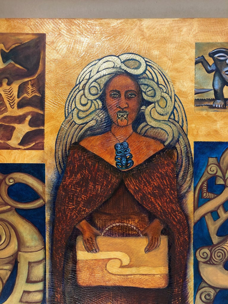 Legacy Series: Leaving Behind, contemporary painting, Maori art, figurative  - Painting by June Northcroft Grant