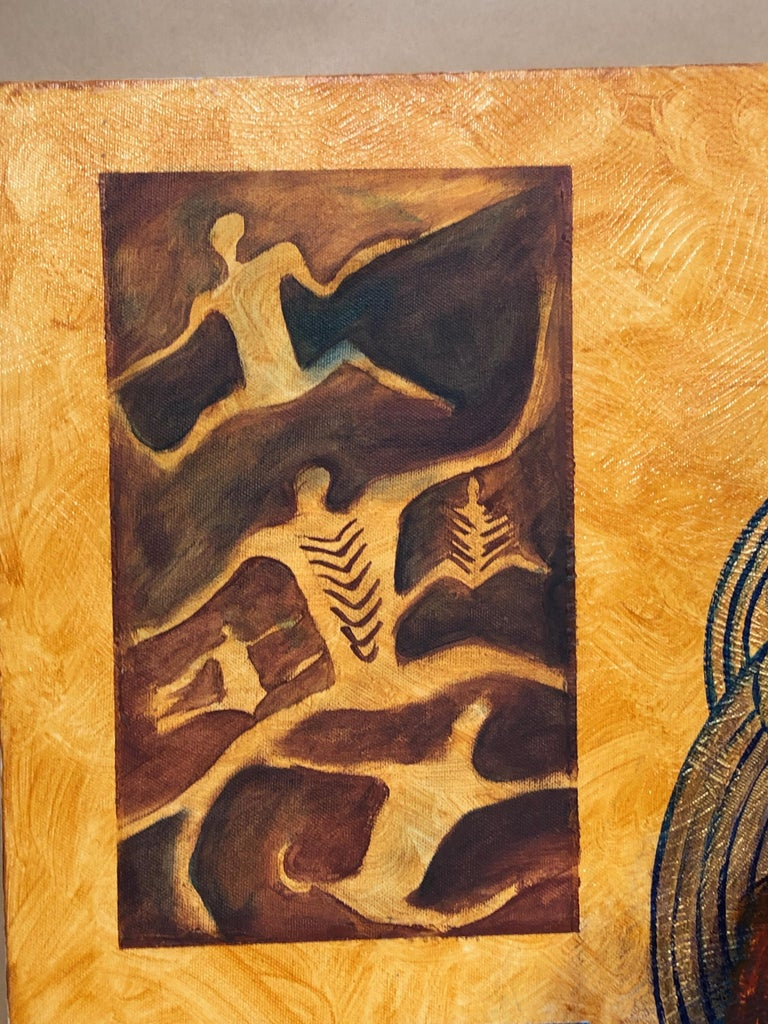 Legacy Series: Leaving Behind, contemporary painting, Maori art, figurative  - Contemporary Painting by June Northcroft Grant