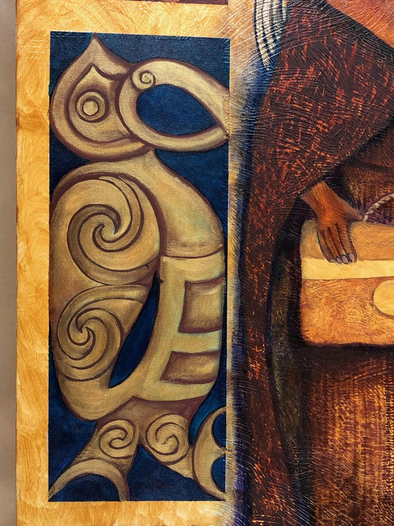 Legacy Series: Leaving Behind, contemporary painting, Maori art, figurative  - Brown Figurative Painting by June Northcroft Grant