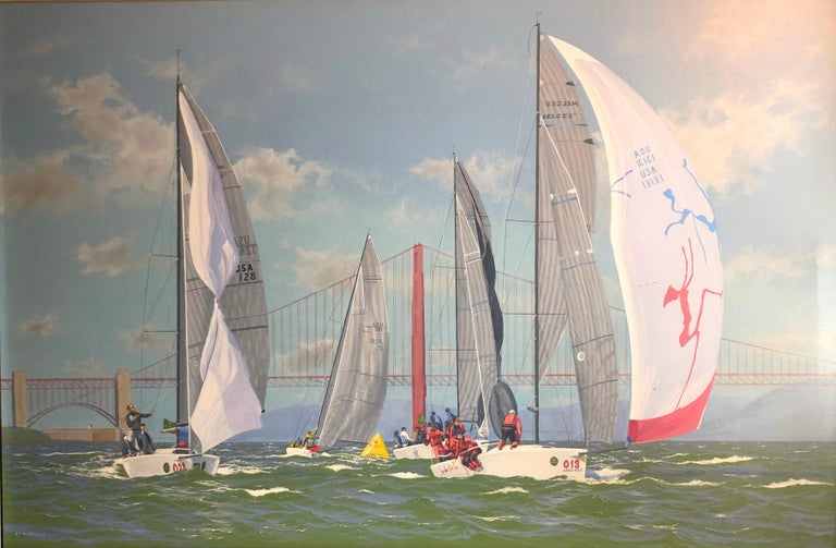 Ronald Charles Mitchell Figurative Painting - Nautor Swan Cowes Regatta