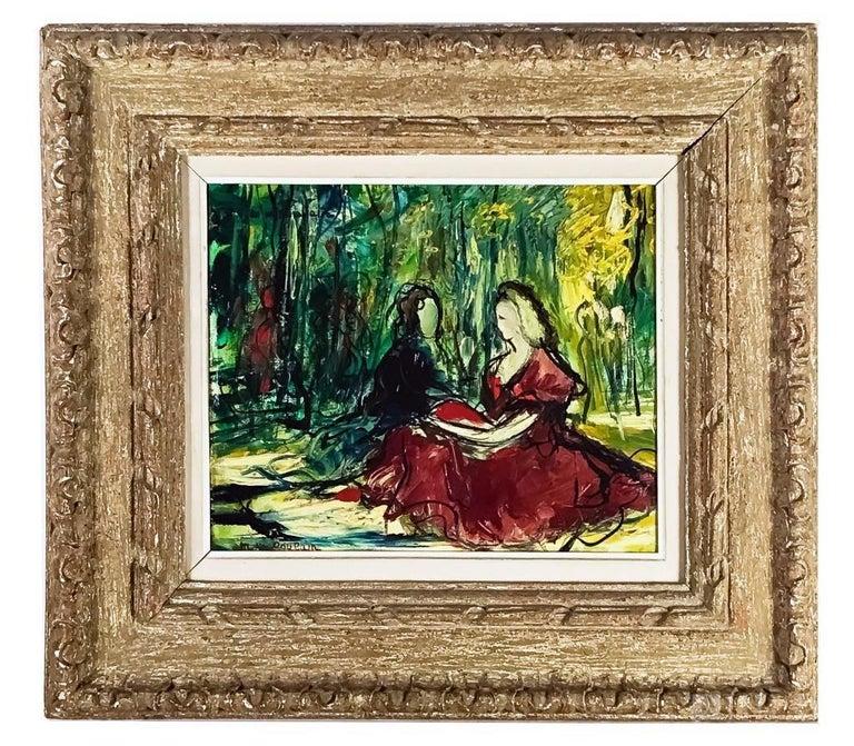 Michel Marie Poulain Landscape Painting - Women In Paris Mid Century French