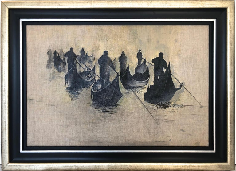 Igor Medvedev Landscape Painting - Black and Gray Gondoliers Group I