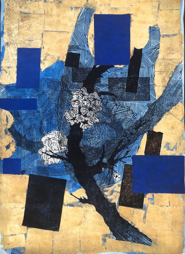 Julien Gil Vega Abstract Painting - The Branches Keep Dancing Mixed Media
