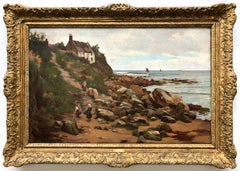 House By The Sea 19Th Century English Oil Painting