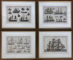 Set of Four French Antique Marine Prints