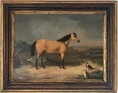 Antique Horse Portrait Painting With A Dog In The Landscape