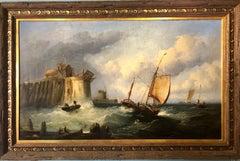 Yorkshire Coast Marine Large English School Seascape Painting
