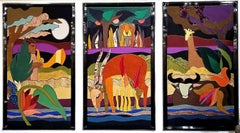 On The Way To The Ark Large Triptych Tapestry