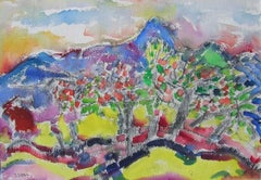 Landscape with Mountain and Trees Watercolor