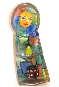 Art Glass Sculpture With Face, Pear, House