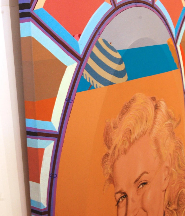 Marilyn In Terry Cloth Robe, Norma Jean. Acrylic on shaped canvas and wood panel. George Torjussen was born in Brooklyn, NYC in 1932, he is American, artist.  Education: Saint Olaf College BFA, Sculpture, Architecture, Painting and Drawing