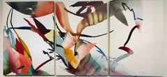 Kite Fight Triptych Mixed Media Modern Abstract American Artist Peter Kitchell