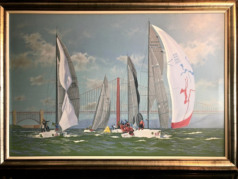 Nautor Swan Cowes Regatta - Painting by Ronald Charles Mitchell