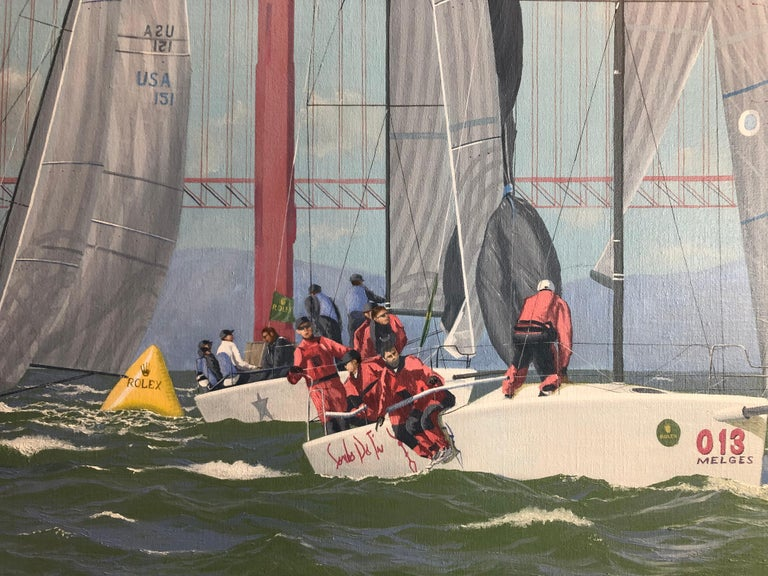 Nautor Swan Cowes Regatta - Gray Figurative Painting by Ronald Charles Mitchell