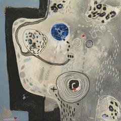 Crescendo Mixed Media on Canvas Contemporary Abstract in Gray