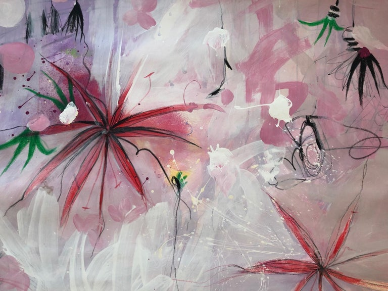 Lili Ocean Part 2 Pink Abstract.  Mixed media: acrylic, ink marker, pastel on paper.    Malgosia Kiernozycka was born in Wroclaw, Poland. She graduated high school at the School of Fine Arts and received a scholarship from the Minister of Culture