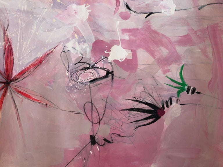 Lili Ocean Part 2 Pink Abstract on Paper For Sale 1
