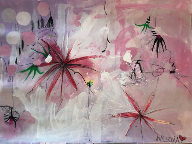 Lili Ocean Part 2 Pink Abstract on Paper - Surrealist Mixed Media Art by Malgosia Kiernozycka