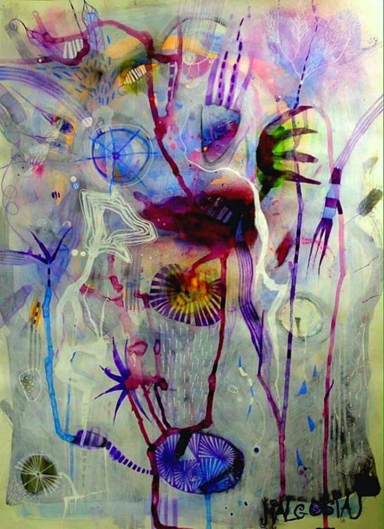 Some Colde Night  Mixed media: acrylic, ink marker, pastel on archival paper  Figurative abstraction. Malgosia Kiernozycka was born in Wroclaw, Poland. She graduated high school at the School of Fine Arts and received a scholarship from the Minister