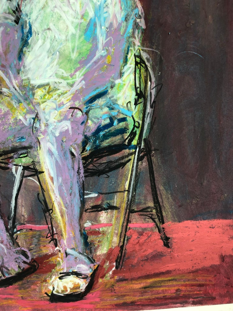 Man In The Chair - Expressionist Painting by Rafael Saldarriaga