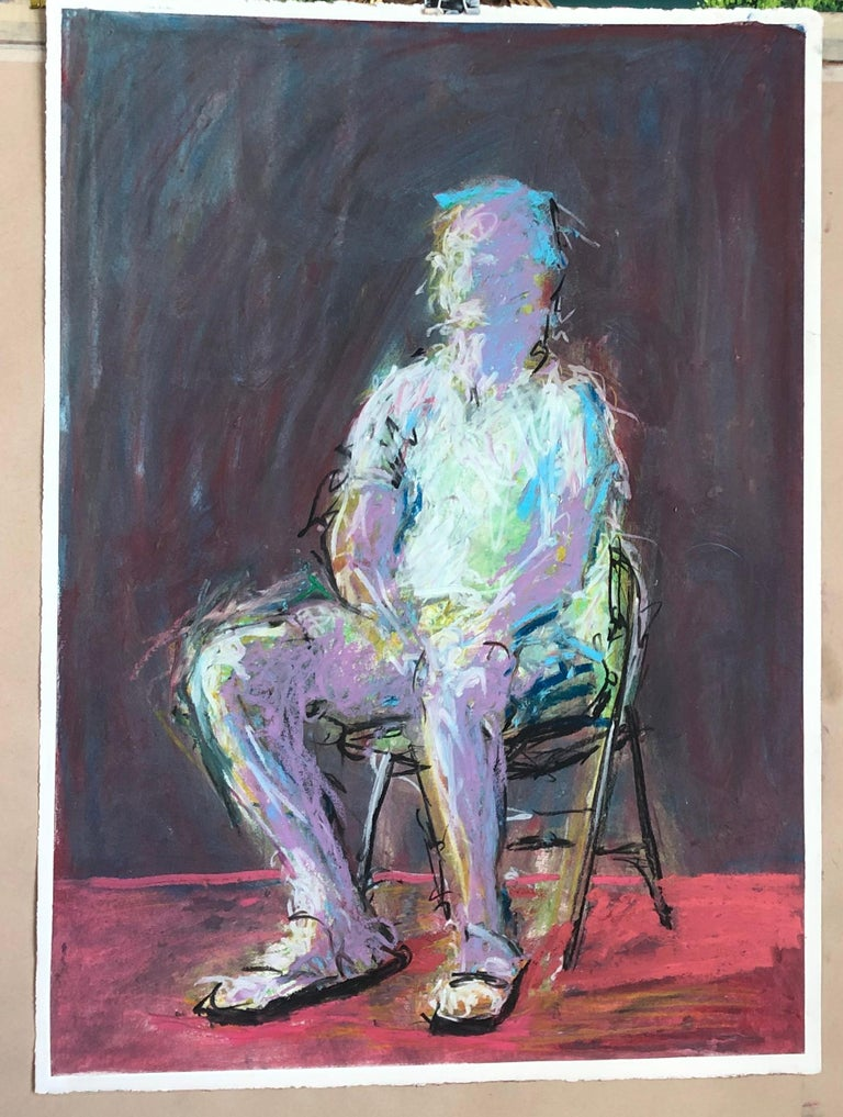 Man In The Chair - Black Figurative Painting by Rafael Saldarriaga