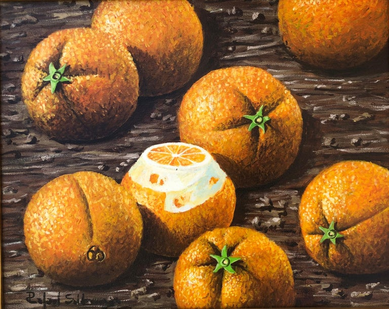 Still Life with Oranges - Painting by Rafael Saldarriaga