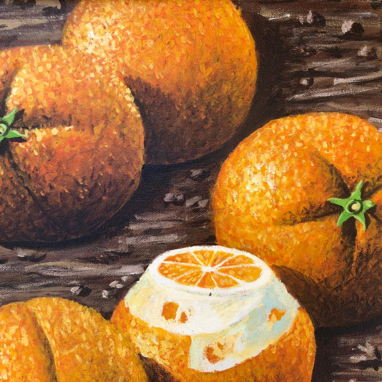 Still Life with Oranges - Brown Figurative Painting by Rafael Saldarriaga