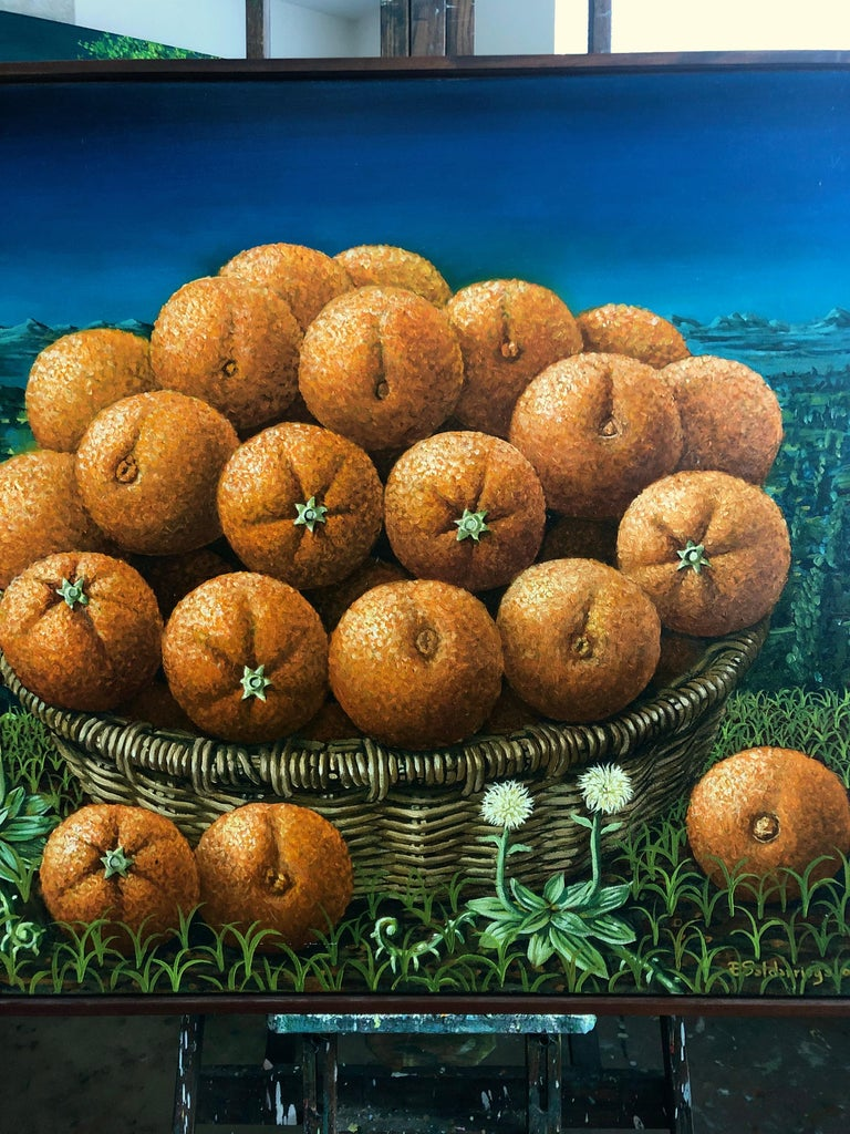 Still Life With Oranges In The Basket  - Realist Painting by Rafael Saldarriaga