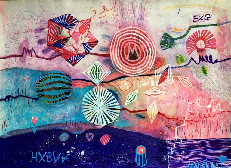 EKG Abstract Mixed Media on Paper - Mixed Media Art by Malgosia Kiernozycka