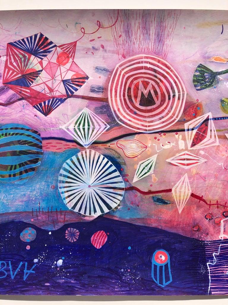 EKG Abstract Mixed Media on Paper - Abstract Expressionist Mixed Media Art by Malgosia Kiernozycka