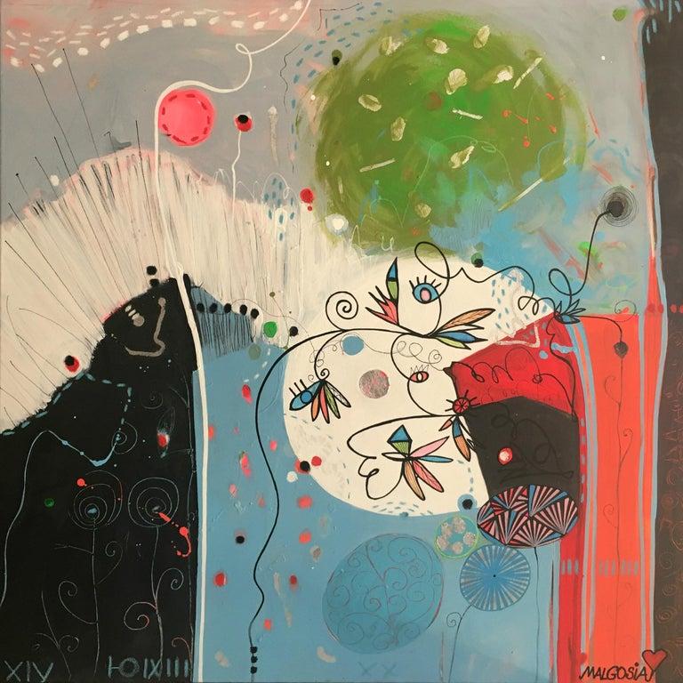 Malgosia Kiernozycka Abstract Painting - TURQUOISE A SHY MORNING