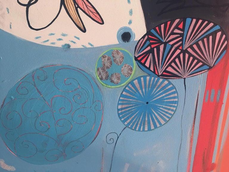 TURQUOISE A SHY MORNING  - Contemporary Painting by Malgosia Kiernozycka