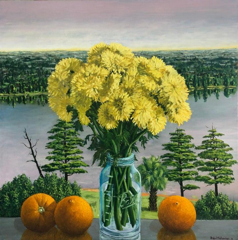 Rafael Saldarriaga Still-Life Painting - Still Life Yellow Chrysanthemums With Oranges Oil Painting