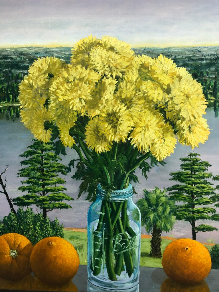 Yellow Chrysanthemums Still Life with Oranges. RAFAEL SALDARRIAGA was born in Medellin, Colombia in 1955. Arrived in the United States in 1993. After living in New Mexico and Hawaii established his residency in New York City. He studied in Live de